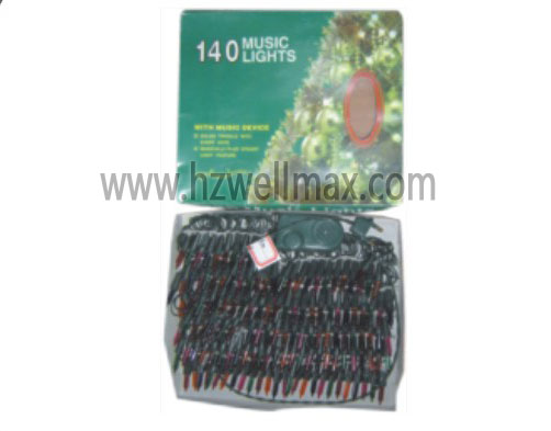 140pcs christmas lights 2 way flash 3 music printed box
